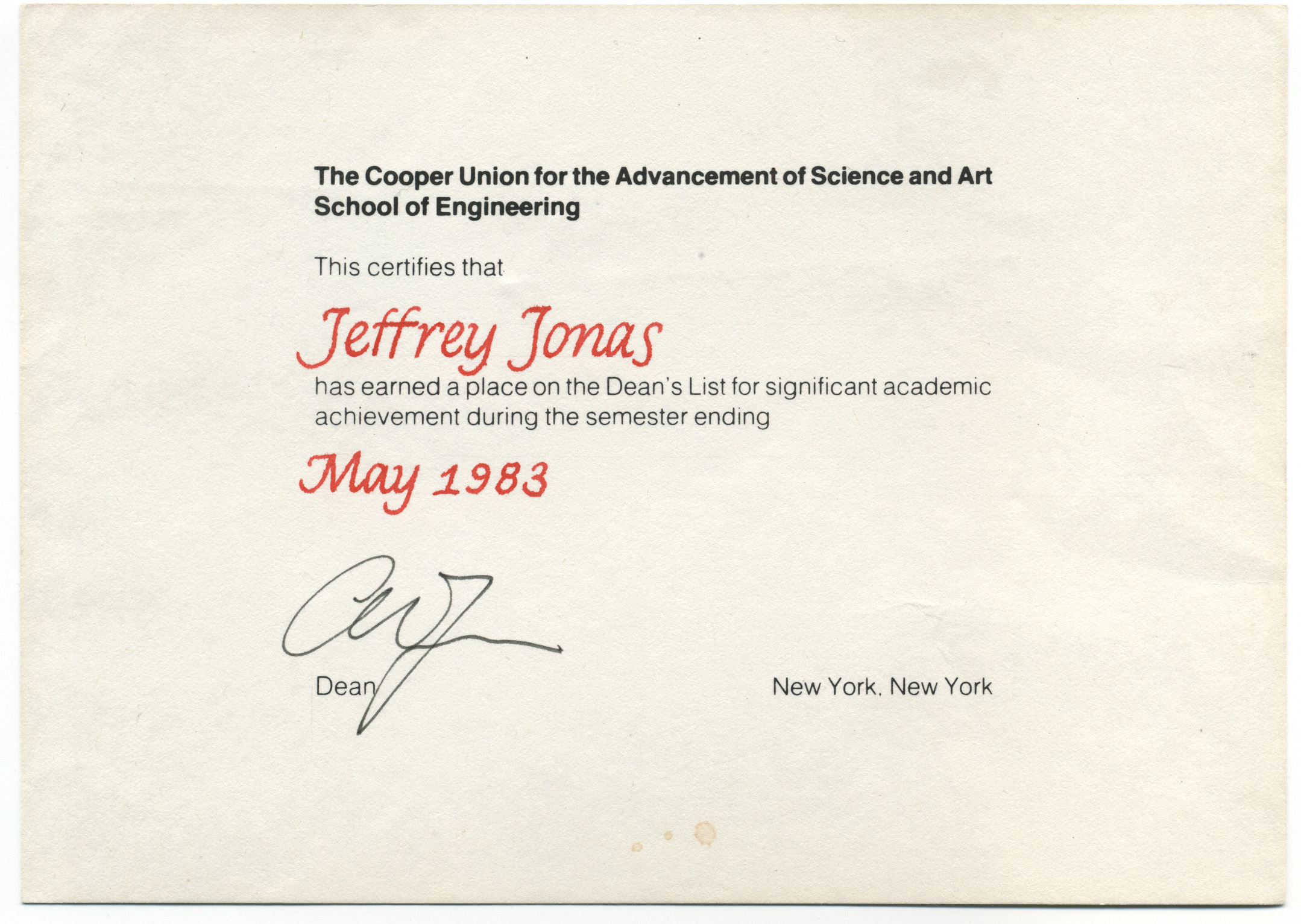 jeffrey jonas certifications degrees diplomas honors the cooper union dean s list