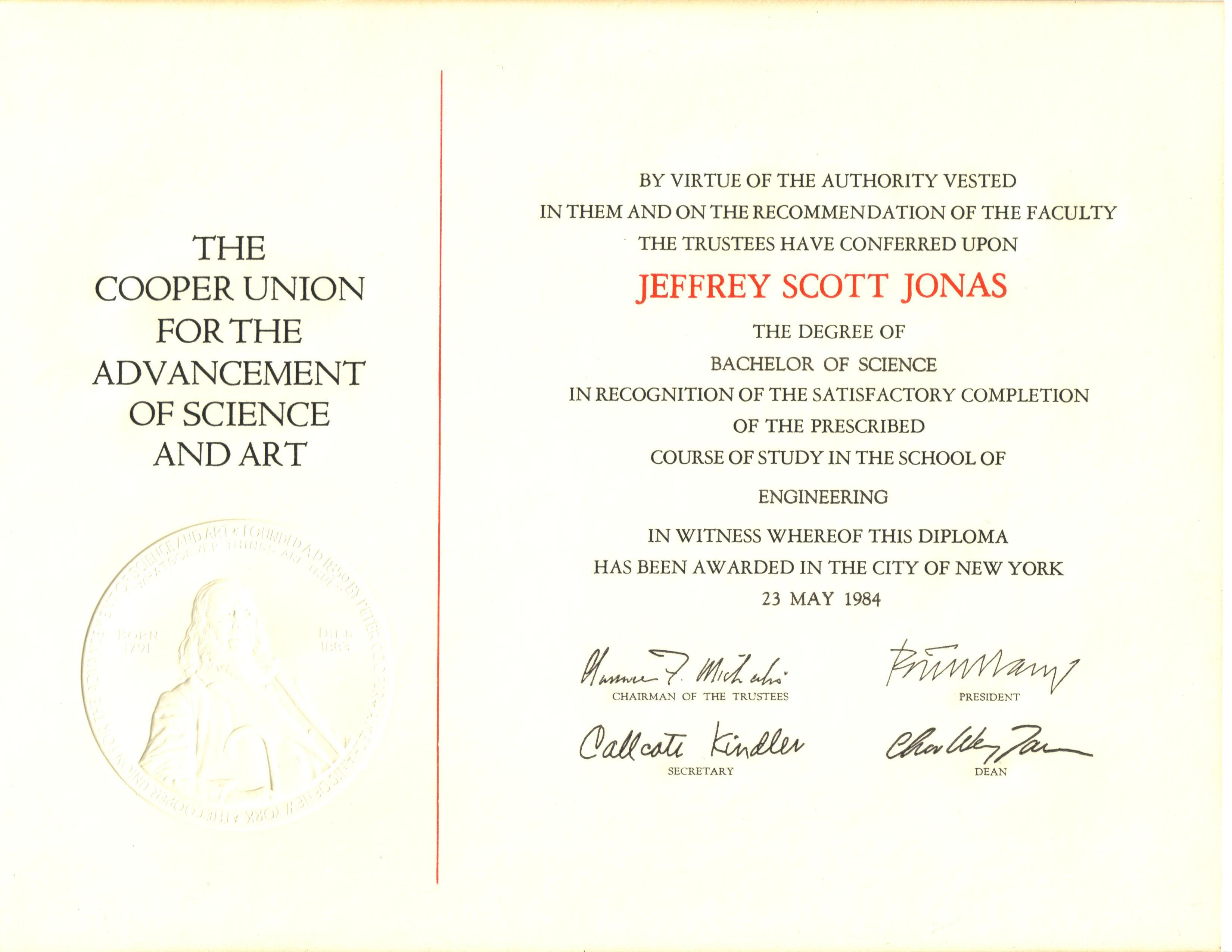 jeffrey jonas certifications degrees diplomas honors the cooper union school of engineering bachelor of science